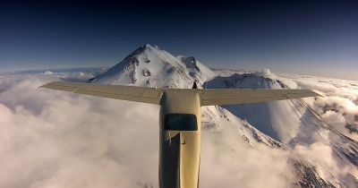 Ney performing aerial recon of the 14,180 ft Mount Shasta